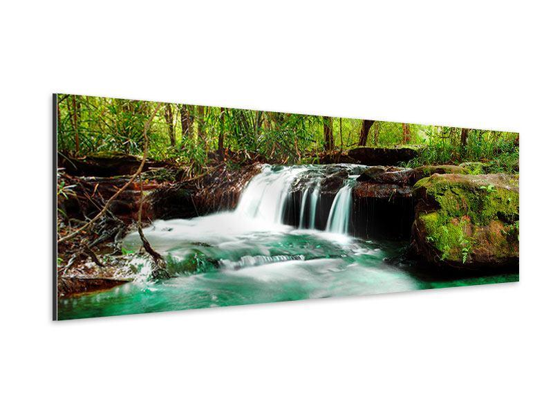 Aluminiumbild Panorama Der Fluss am Wasserfall