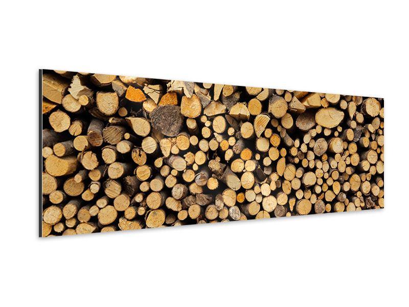 Aluminiumbild Panorama Brennholz