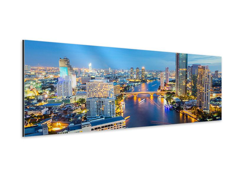 Aluminiumbild Panorama Skyline Bangkok bei Sonnenuntergang