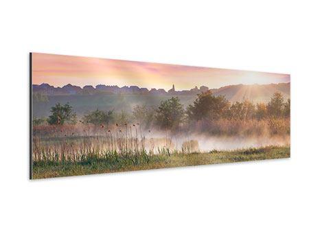 Aluminiumbild Panorama Sonnenuntergang am Hügel