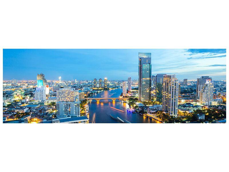 Aluminiumbild Panorama Skyline Bangkok in der Abenddämmerung