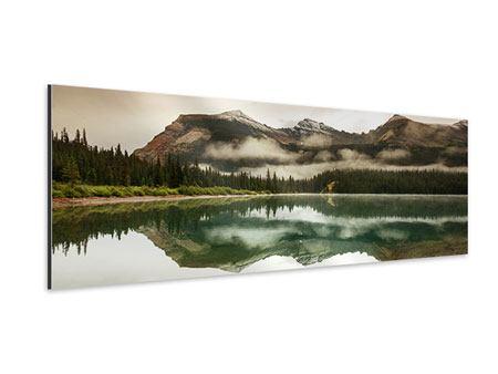 Aluminiumbild Panorama Spiegelung im Glacier Nationalpark