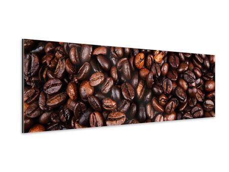 Aluminiumbild Panorama Kaffeebohnen in XXL