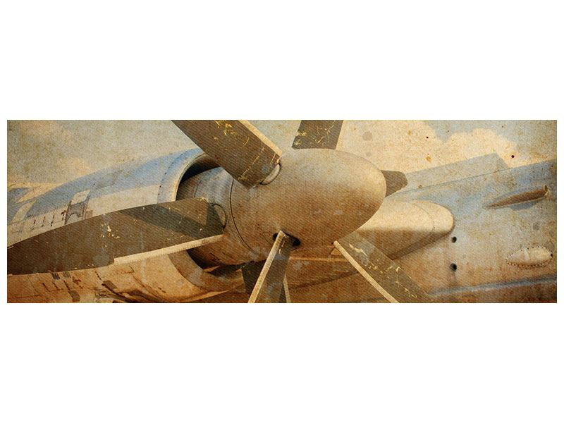 Aluminiumbild Panorama Propellerflugzeug im Grungestil