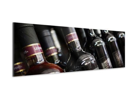 Aluminiumbild Panorama Flaschenweine
