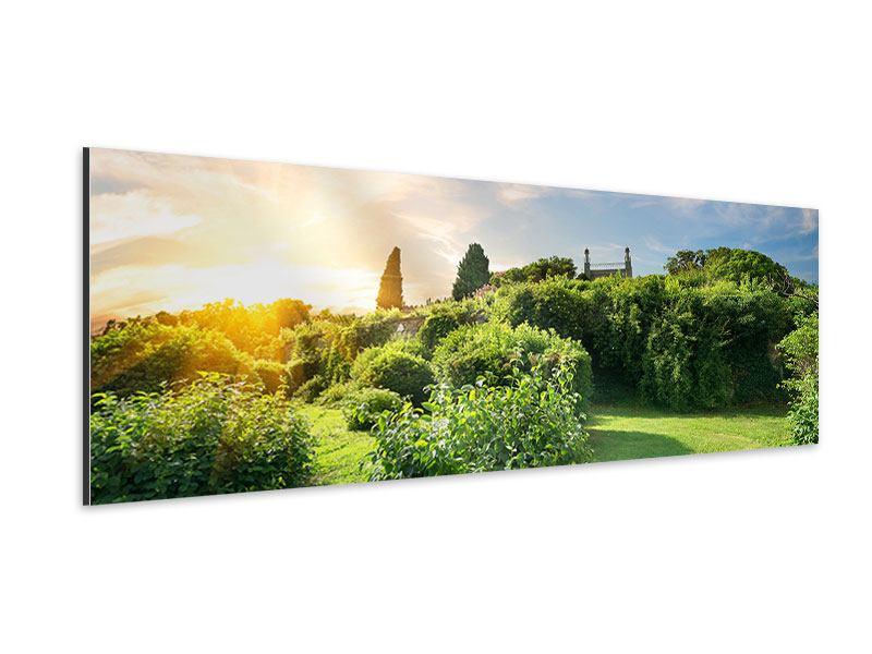 Aluminiumbild Panorama Sonnenaufgang im Park
