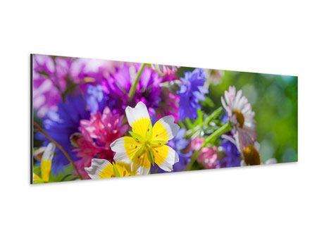 Aluminiumbild Panorama XXL Gartenblumen