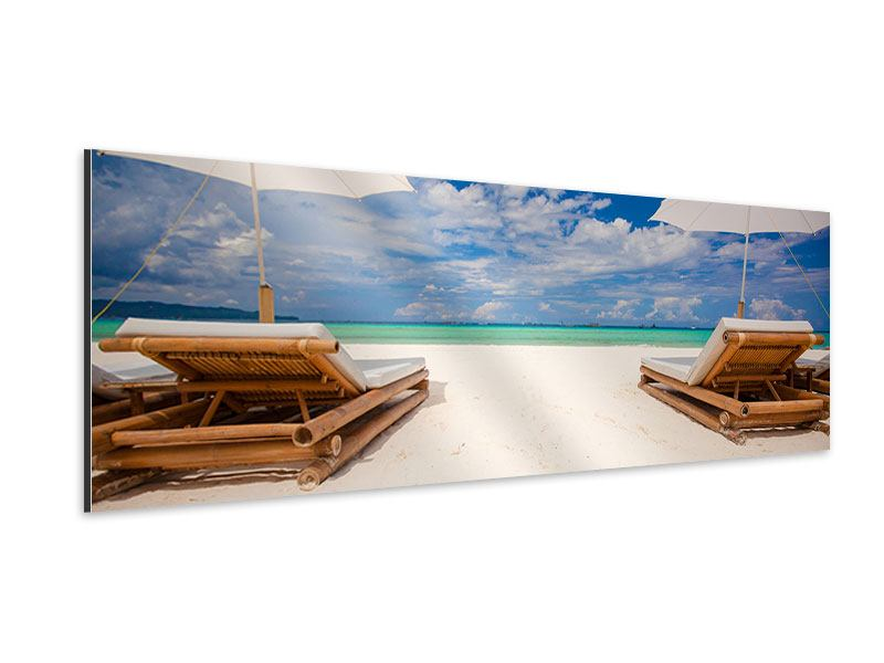 Aluminiumbild Panorama Liegen am Strand