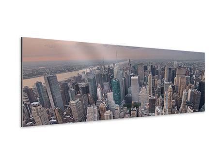 Aluminiumbild Panorama Skyline Blick über Manhattan