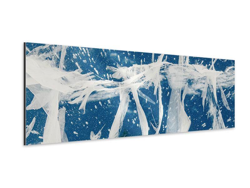 Aluminiumbild Panorama Eiskristalle