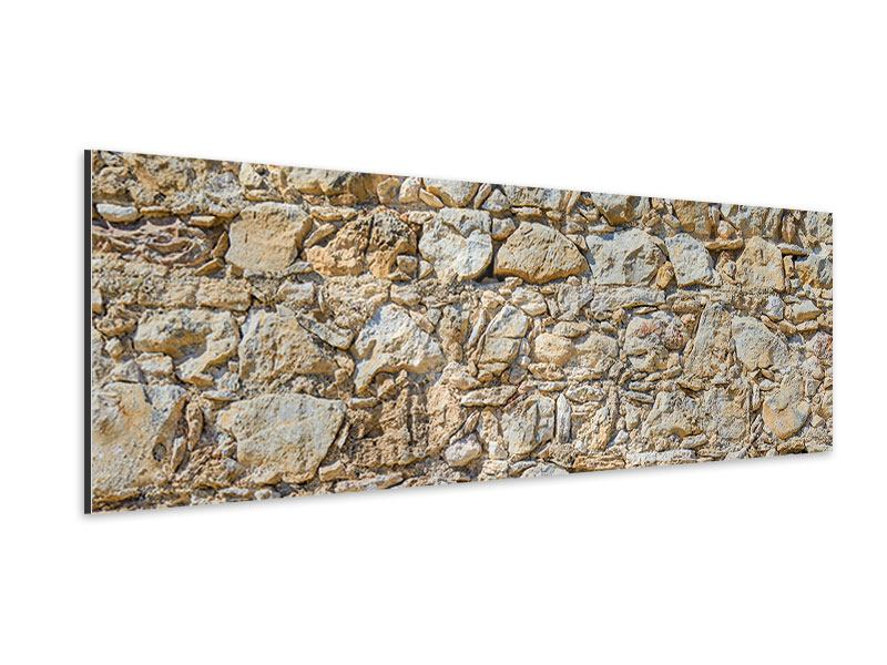Aluminiumbild Panorama Sandsteinmauer
