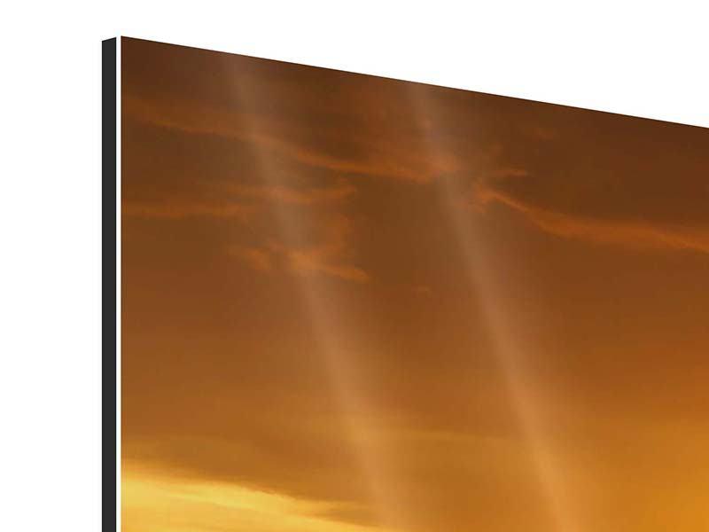 Aluminiumbild Panorama Glühender Sonnenuntergang am Wasser