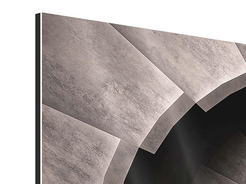Aluminiumbild Panorama Steinwendeltreppe