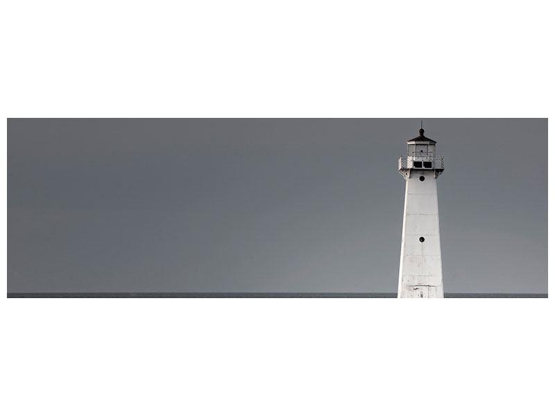 Aluminiumbild Panorama Der Leuchtturm bei Nacht