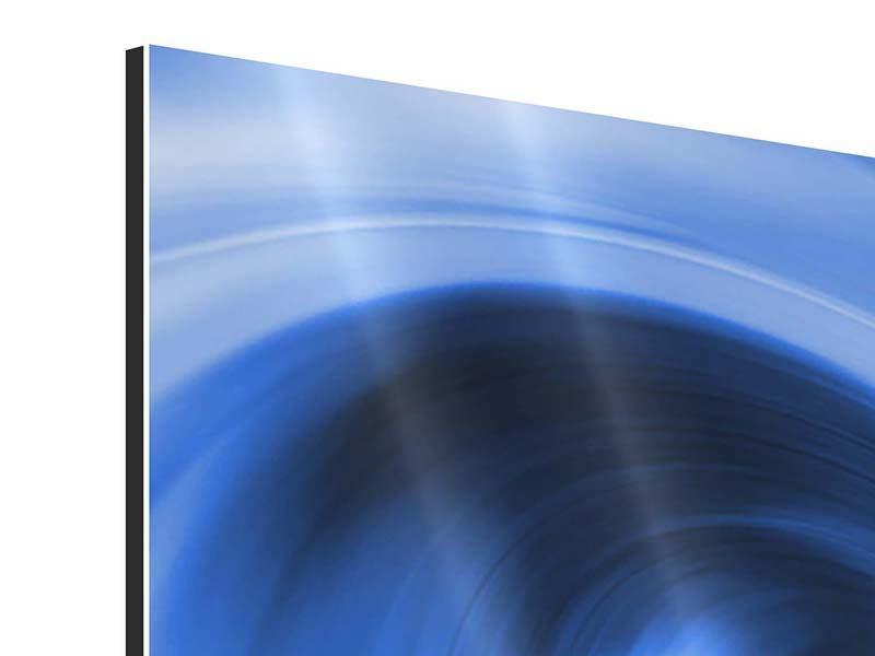 Aluminiumbild Panorama Abstrakte blaue Welle