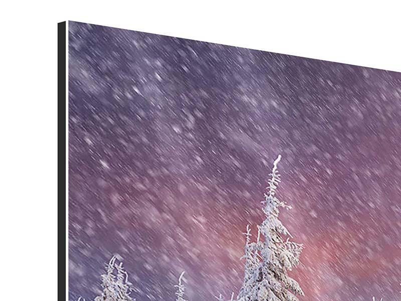 Aluminiumbild Panorama Mystischer Schneesturm