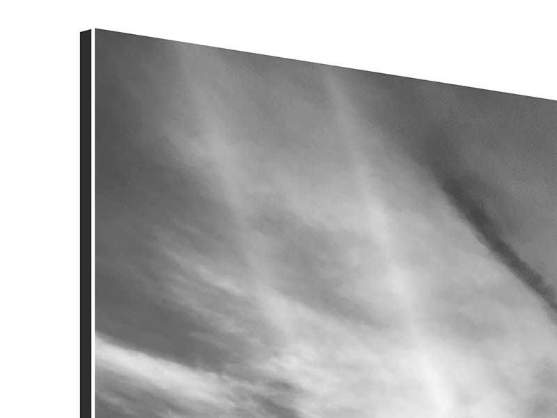 Aluminiumbild Panorama Yoga am Strand