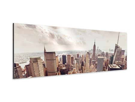 Panoramic Aluminium Print Skyline Over The Roofs Of Manhattan