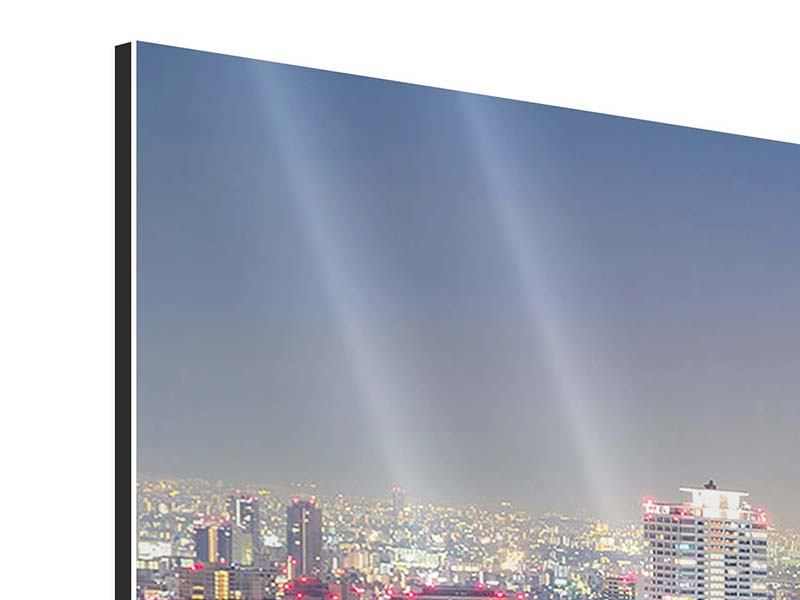 Aluminiumbild Panorama Skyline Osaka bei Sonnenuntergang