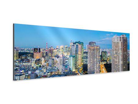 Aluminiumbild Panorama Skyline Tokio im Lichtermeer