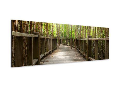 Aluminiumbild Panorama Hölzerne Brücke
