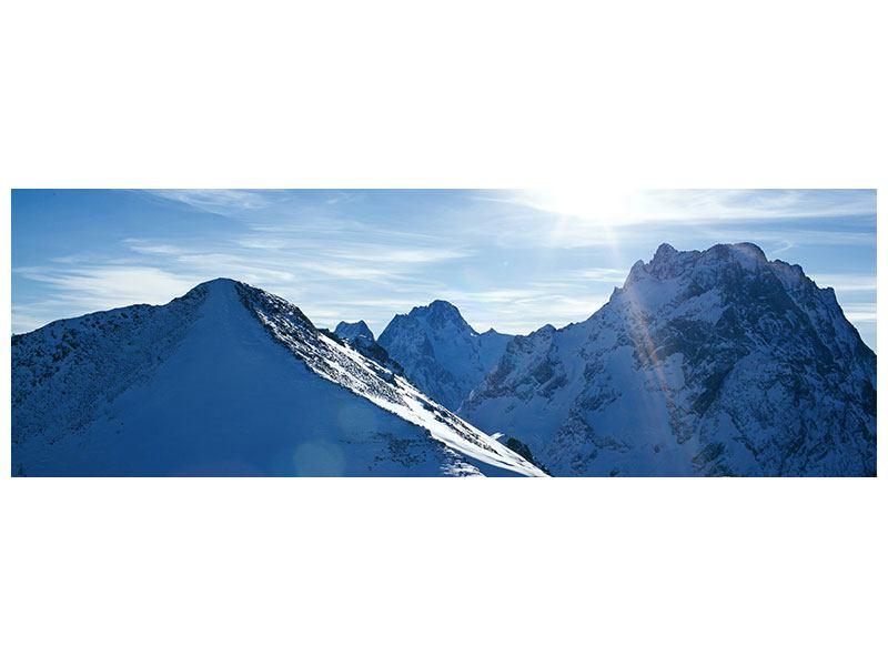 Aluminiumbild Panorama Der Berg im Schnee