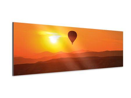 Aluminiumbild Panorama Heissluftballon bei Sonnenuntergang