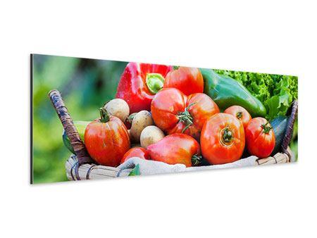 Aluminiumbild Panorama Gemüsekorb
