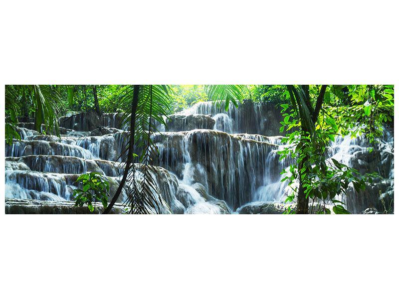 Aluminiumbild Panorama Wasserfall Agua Azul