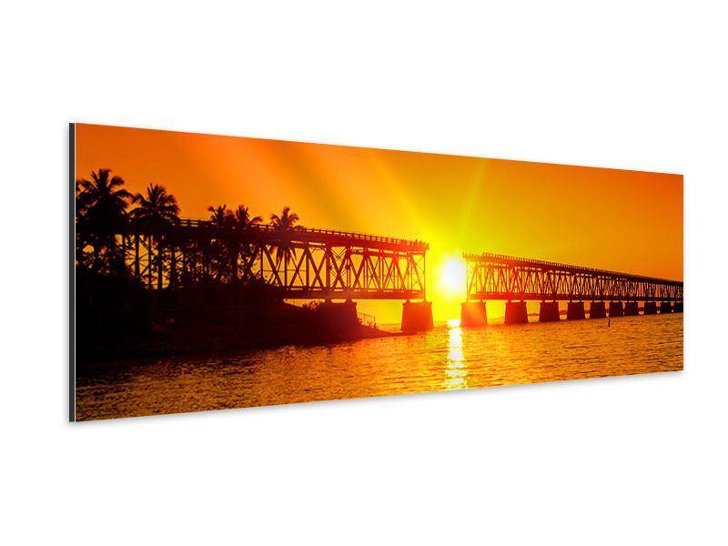 Aluminiumbild Panorama Sonnenuntergang an der Brücke