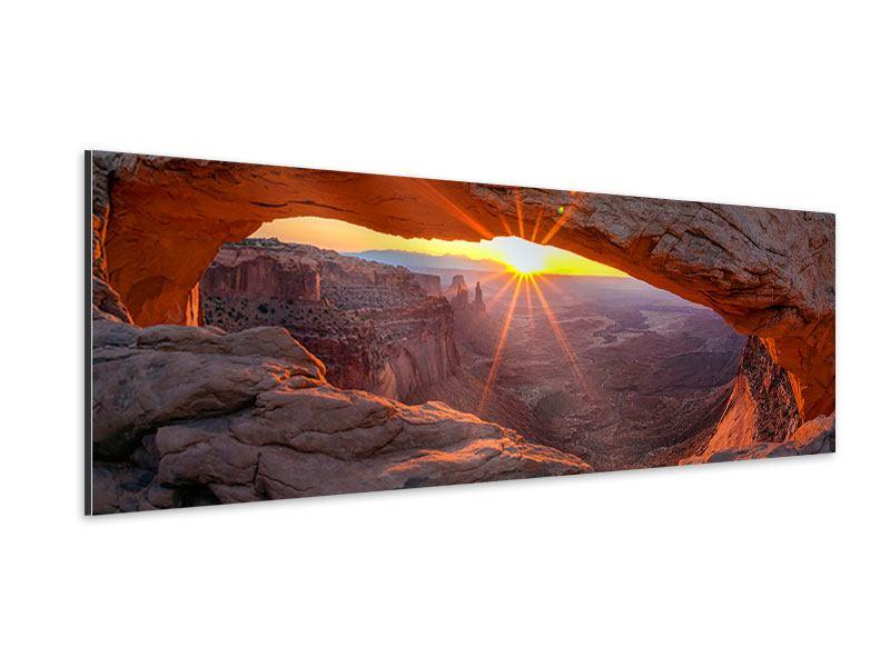 Aluminiumbild Panorama Sonnenuntergang am Mesa Arch