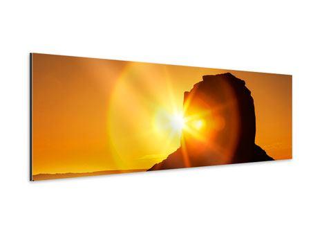 Aluminiumbild Panorama Sonnenuntergang Monument Valley