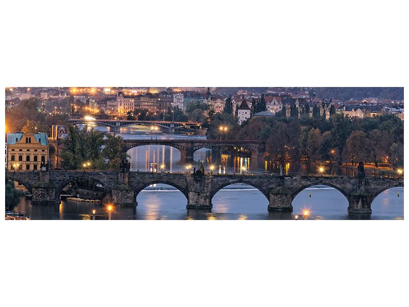 Aluminiumbild Panorama Brücken in Prag