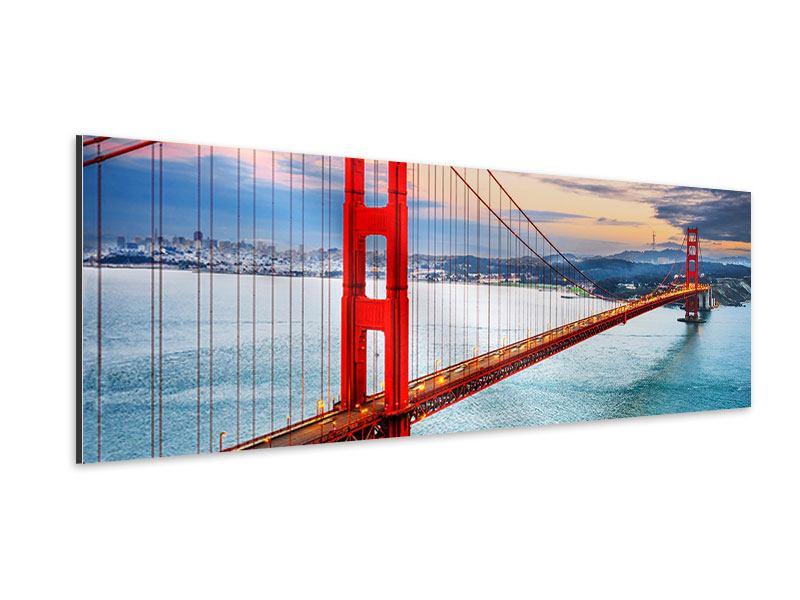 Aluminiumbild Panorama Der Golden Gate Bridge bei Sonnenuntergang