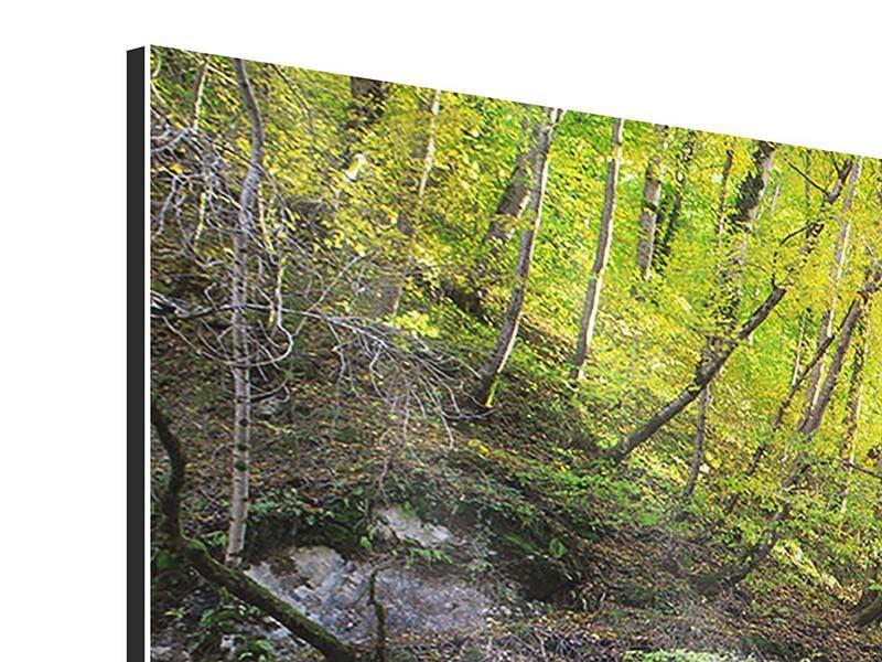 Aluminiumbild Panorama Fliessender Wasserfall