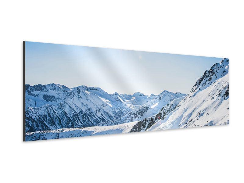 Aluminiumbild Panorama Bergpanorama im Schnee