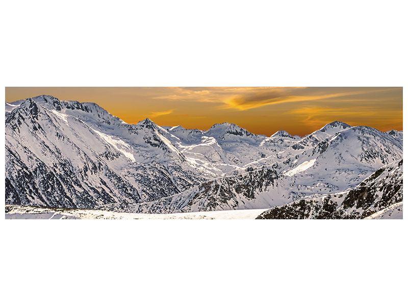 Aluminiumbild Panorama Sonnenuntergang in den Bergen