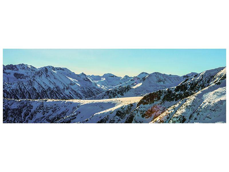 Aluminiumbild Panorama Sonnige Berggipfel im Schnee