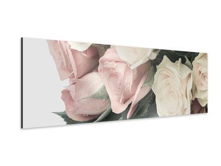 Aluminiumbild Panorama Rosenromantik