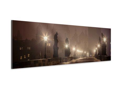 Aluminiumbild Panorama Die Karlsbrücke bei Nacht