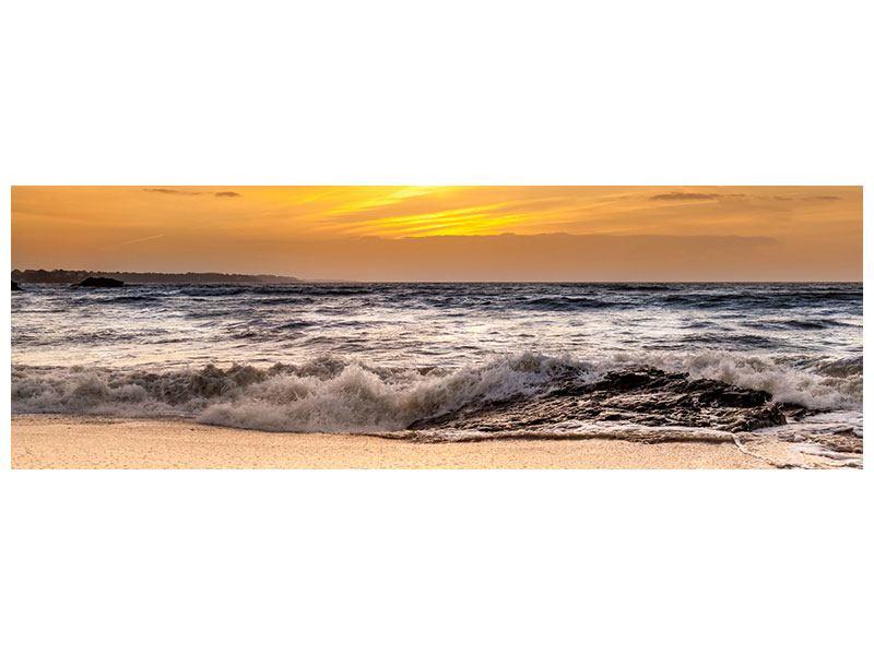 Aluminiumbild Panorama See mit Sonnenuntergang