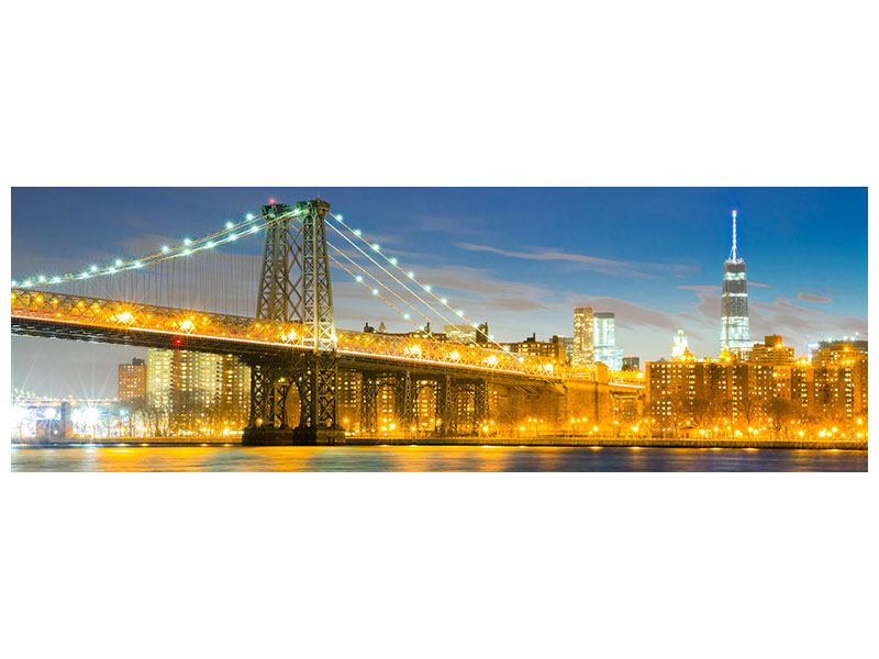Aluminiumbild Panorama Brooklyn Bridge bei Nacht