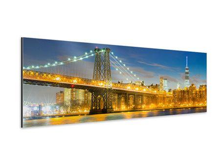 Aluminiumbild Panorama Brooklyn Bridge bei Nacht