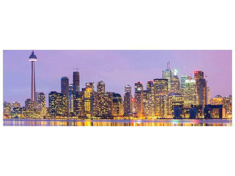 Aluminiumbild Panorama Skyline Toronto bei Nacht