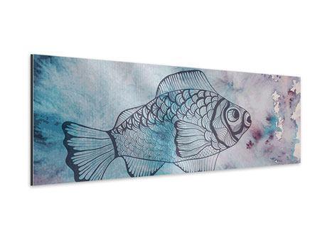 Aluminiumbild Panorama Fisch-Aquarell