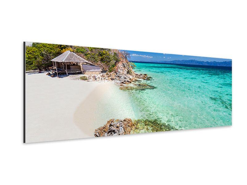Aluminiumbild Panorama Das Haus am Strand
