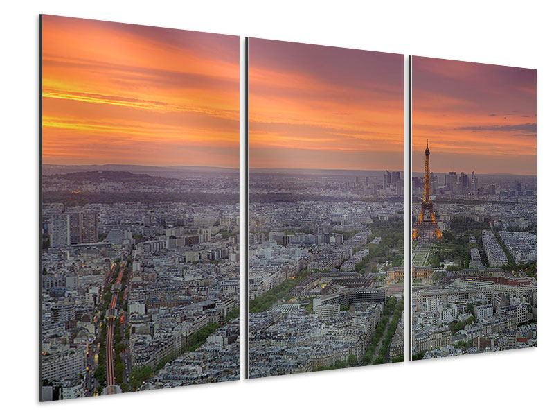 Aluminiumbild 3-teilig Skyline Paris bei Sonnenuntergang