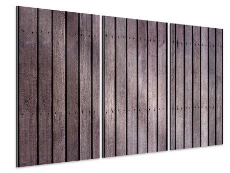 Aluminiumbild 3-teilig Holzwand
