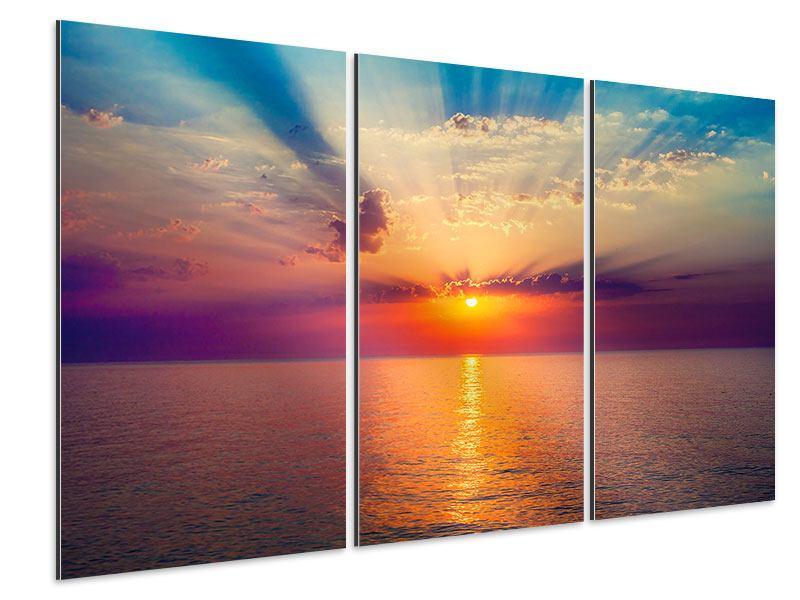 Aluminiumbild 3-teilig Mystischer Sonnenaufgang