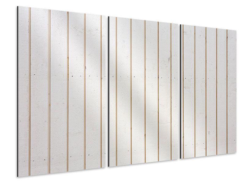 Aluminiumbild 3-teilig Mediterranes Holz
